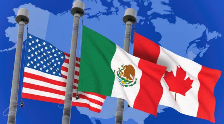 Banderas de México, Estados Unidos y Canadá.
