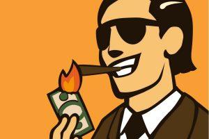 Gran contribuyente enciende puro con un billete.