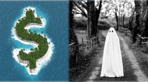 Concepto de sociedad offshore y fantasma cubierto con sábana en blanco en medio de un bosque.