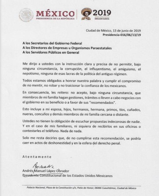 memorándum en el que AMLO advierte a funcionarios contra tráfico de influencias