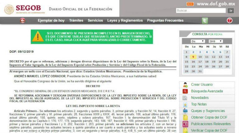 Publican La Miscelanea Fiscal 2020 En El Dof