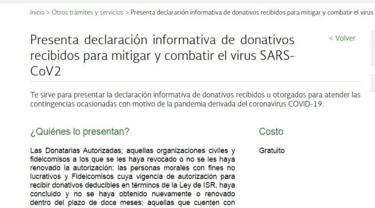 El SAT habilita aplicación para la declaración de donativos por SARS-CoV2